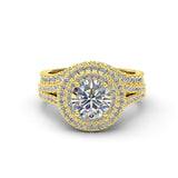 2.0ct Brilliant Diamond Double Halo Gold Bridal Wedding Ring  - 01US11