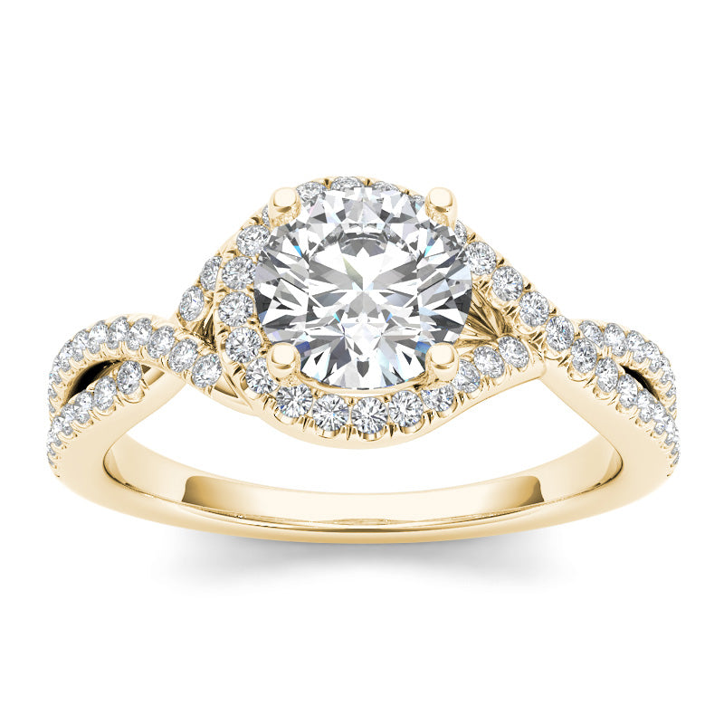 1.35ct Brilliant Cut Diamond Twist Gold Engagement Ring - 01US17