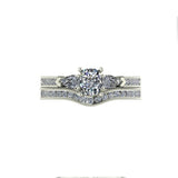 1.1ct Cushion Cut Diamond Gold Bridal Set - 01US28A