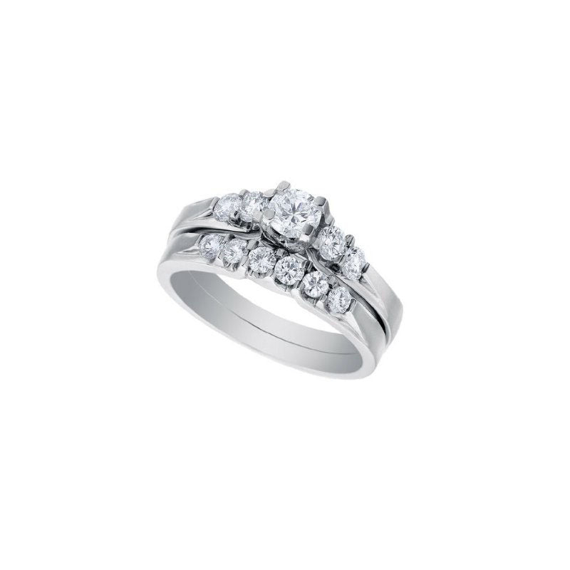 0.68ct Round Diamond White Gold Bridal Set - 01US38A