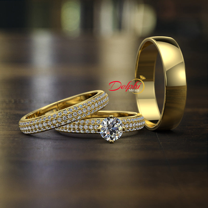 1.09ct Brilliant Diamond Gold Complete Wedding Set - 01US47A
