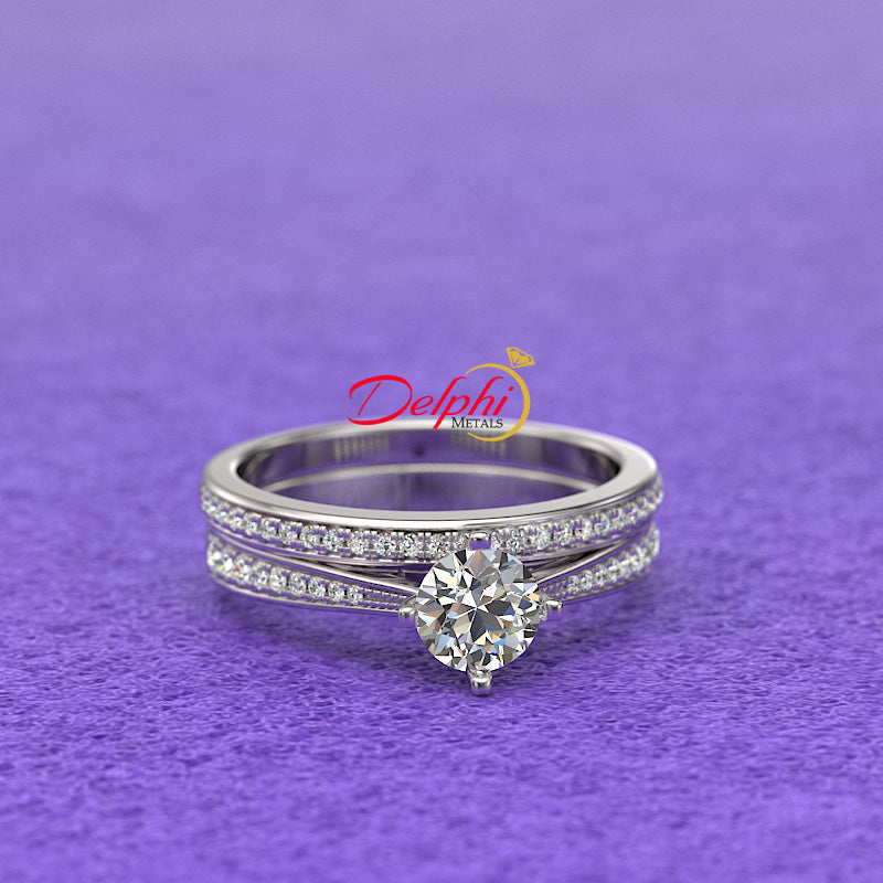 0.8ct Round Diamond Gold Bridal Set - 01US60A