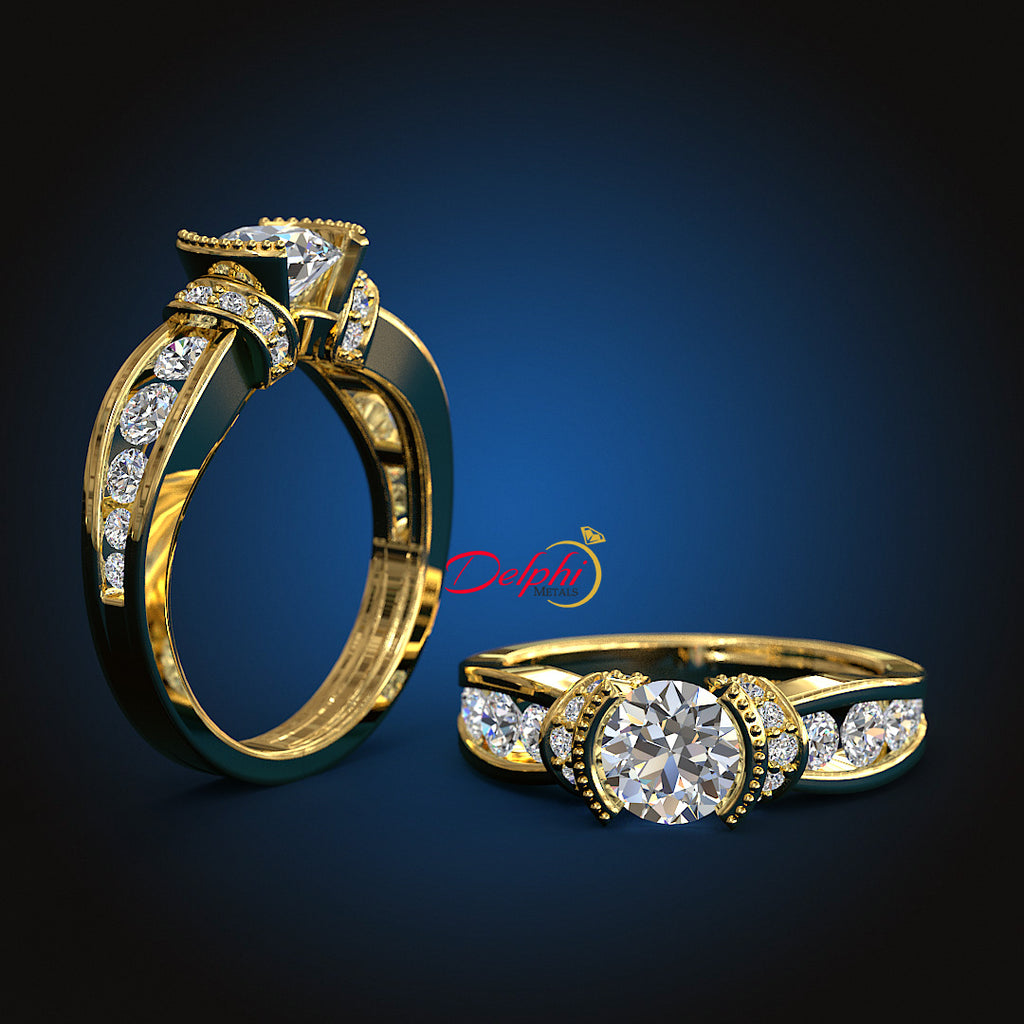 1.4ct Round Cut Gold Engagement Ring - 01US61