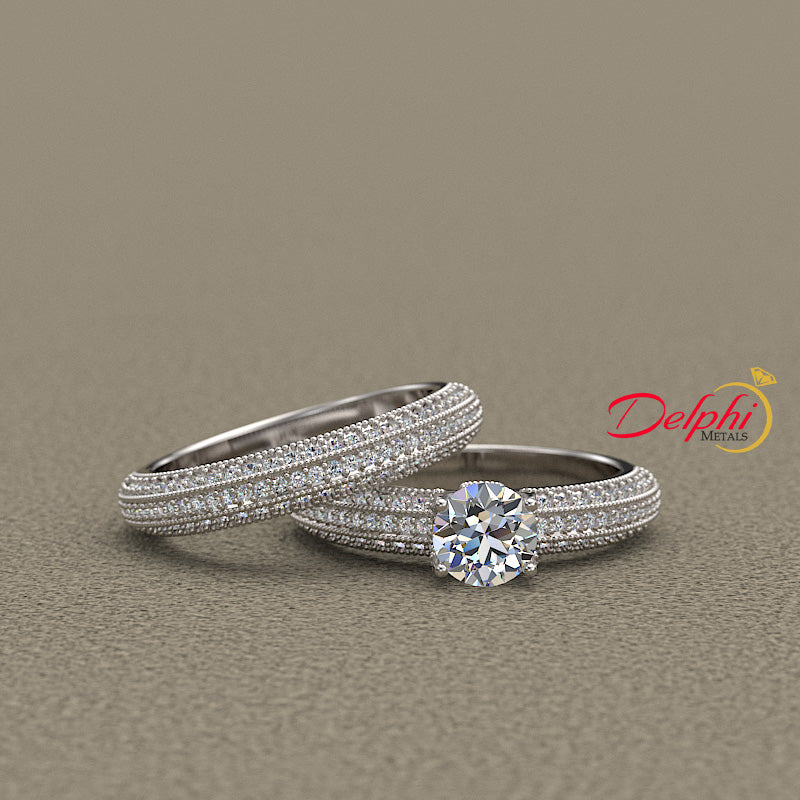 1.3ct Elegant Three Sided Pave Gold Bridal Set - 01US63A