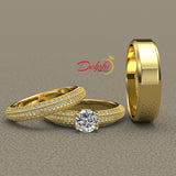 1.3ct Elegant Three Sided Pave Gold Complete Wedding Set - 01US63B