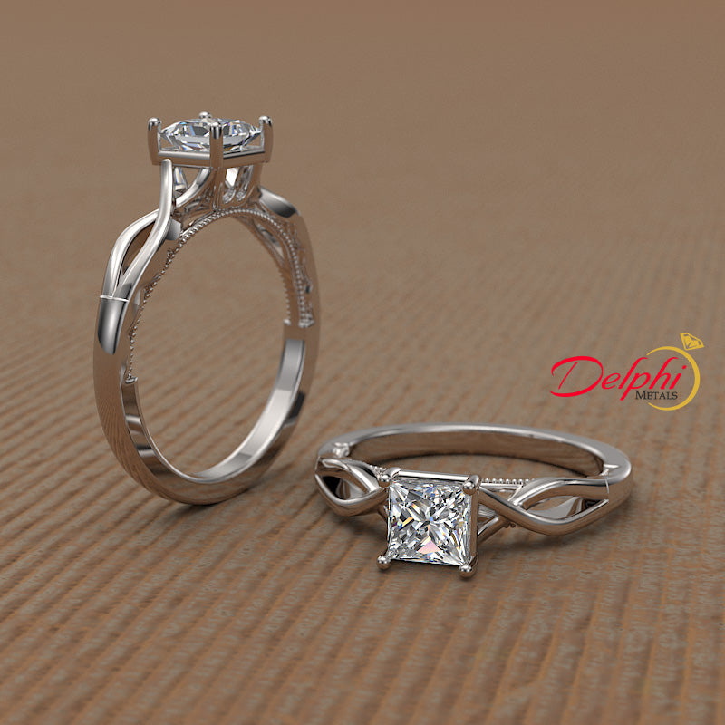 0.45ct Princess Cut Diamond Infinity  Engagement Ring - 01US64V