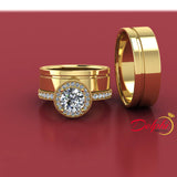Gold Complete Wedding Set with Wide Bands - 01US70