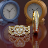 Heart Shape Gold Complete Wedding Set - 01US72