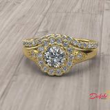 1.08ct Round Diamond Gold Bridal Set  - 01US96