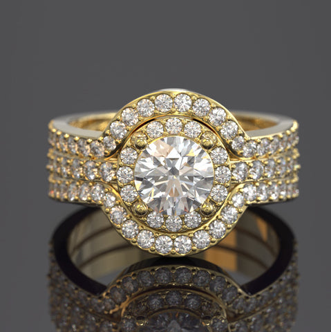 3PC Halo 1.2ct Round Diamond Gold Ring Set - 01US97