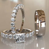 Princess Cut Gold Trio Wedding Ring Set - 01VR07B