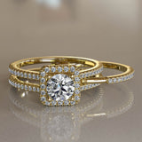 Interchangeable 1.02ct Round Cut Diamond Gold Bridal Set - 02US34