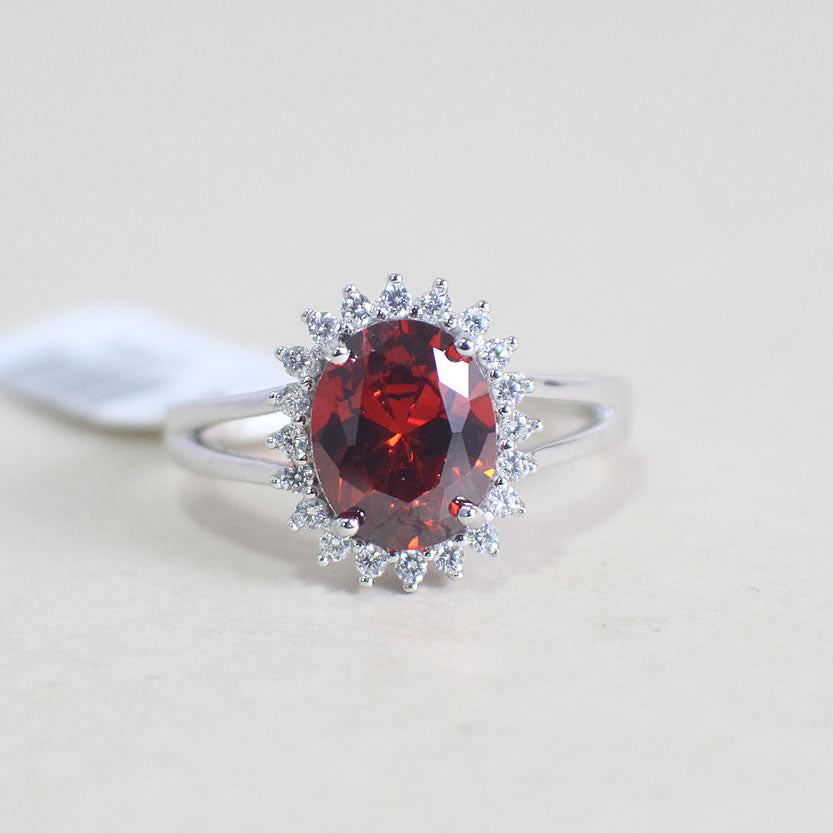 Sterling Silver Ruby Engagement Ring - 02AS67