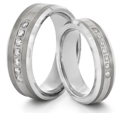 His & Her's 8mm/6mm Tungsten Carbide Wedding Bands - 02bb08