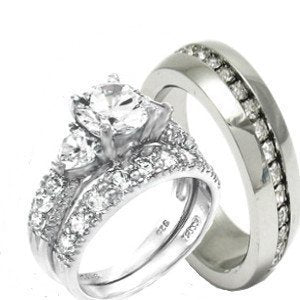 His & Hers Heart 3 Pieces Complete Wedding Set - 02BB12