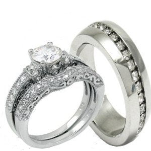 His & Hers 3 Pieces Wedding Ring Set - 02BB13