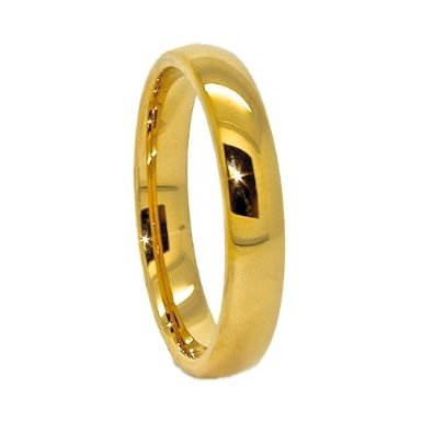 Classic 4mm 18k Gold-Plated Domed Tungsten Wedding Band - 02BB19