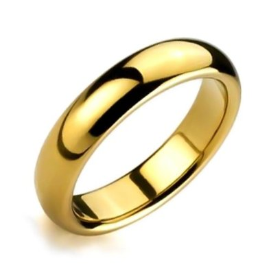 Gold Plated Comfort Fit High Polish Tungsten Band Ring 6mm - 02BB20