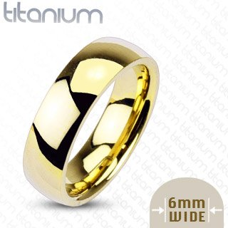 6mm Gold IP Titanium Wedding Band - 02BB22
