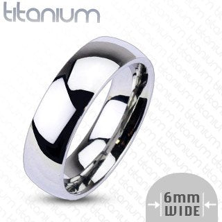 6mm Titanium Plain Mirror Glassy Comfort Fit Wedding Band - 02BB23