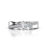 0.42ct Brilliant Diamond Cross Over Gold Engagement Ring  - 02CG16