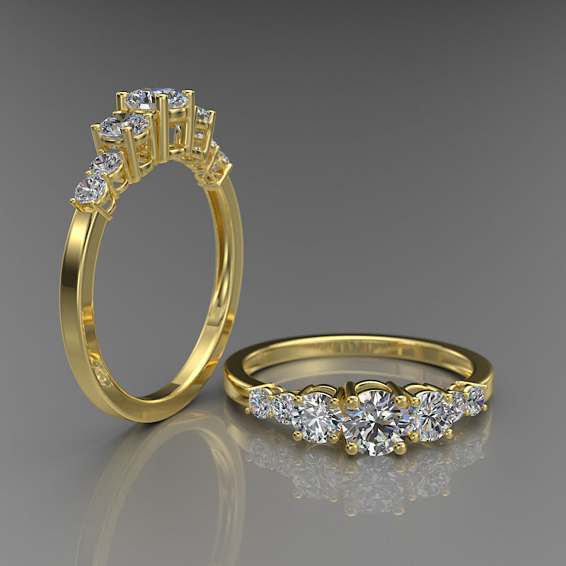 Gold 3 Stones Round Engagement Ring - 02DS03