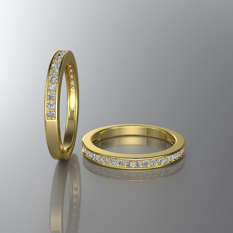 Gold Half Eternity Wedding Band - 02DS04