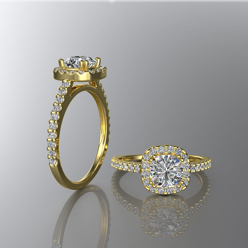 Gold Cushion Cut Halo Engagement Ring - 02DS05