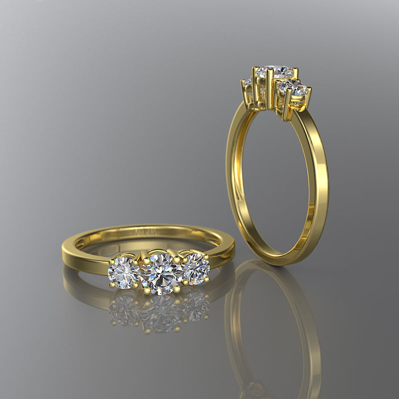 Gold 3 Stones Round Engagement Ring - 02DS06