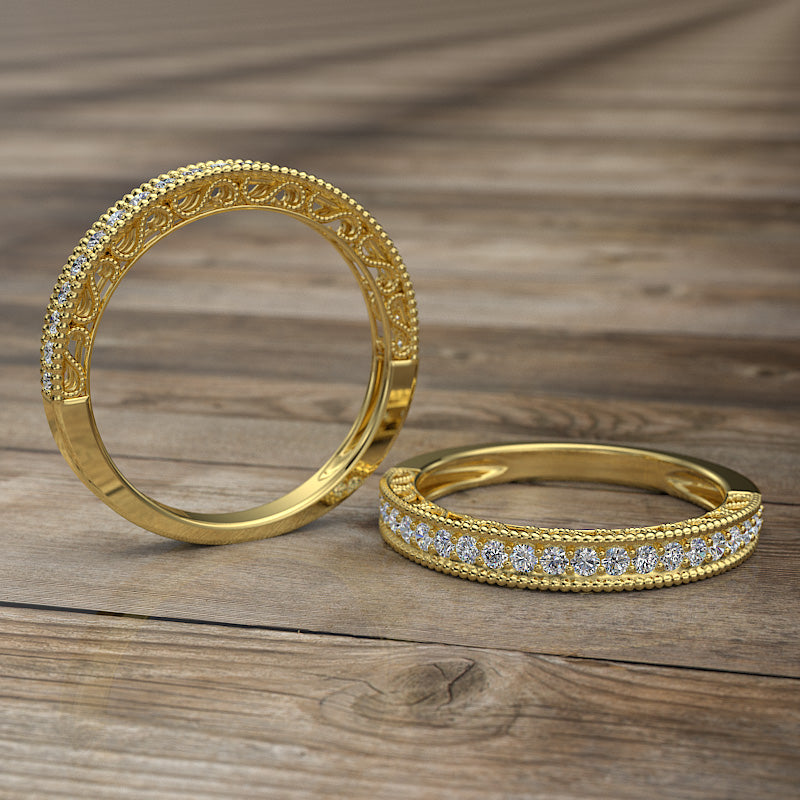 Gold Half Eternity Wedding Band - 02DS08