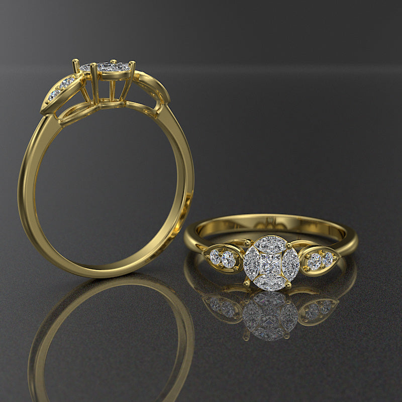 Daisy Collection - Gold Engagement Ring - 02DS16