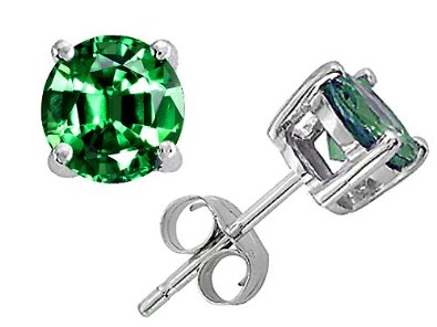 Round 7mm Simulated Emerald Earring Studs in .925 Sterling Silver - 02EM25