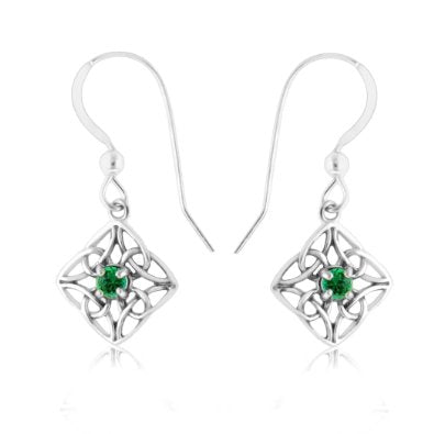 Emerald & Sterling Silver Celtic Knot Diamond-Shaped Drop Earrings - 02EM27