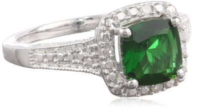 Sterling Silver Simulated Emerald and Diamond Cushion Ring - 02EM28