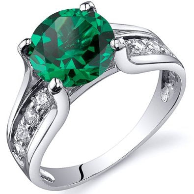 1.75 carats Emerald Ring in Sterling Silver  - 02EM29