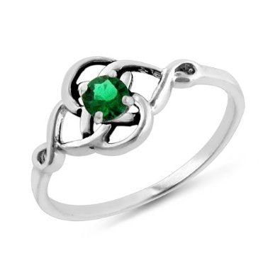 1/4 Carat Emerald Celtic Trinity Knot Ring in Sterling Silver - 02EM30