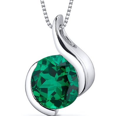 1.75 carats Round Shape Sterling Silver Rhodium Finish Emerald Pendant - 02EM31