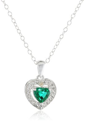 Sterling Silver Created Emerald Heart Shape Pendant Necklace - 02EM32