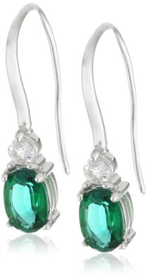 Sterling Silver Created Emerald and Created White Sapphire Wire Earrings - 02EM33