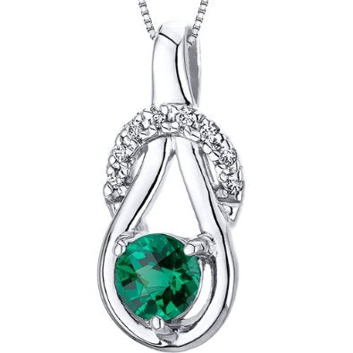 Rhodium Finish Emerald Pendant with 18 inch Silver Necklace - 02EM35