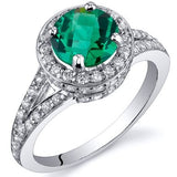 Emerald Ring in Sterling Silver Rhodium Finish - 02EM36