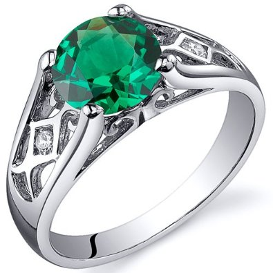Emerald Solitaire Ring in Sterling Silver Rhodium Finish - 02EM41