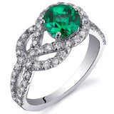 Emerald Ring in Sterling Silver Rhodium Finish - 02EM42