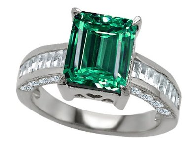 Octagon Cut Simulated Emerald Engagement Ring - 02EM43