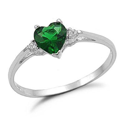 Heart Emerald Cz Engagement Ring - 02EM46