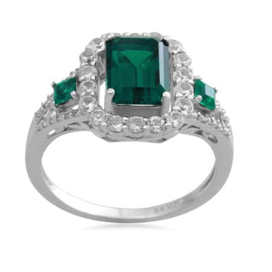 Sterling Silver with Square and Emerald Shape Emerald Diamond Ring - 02EM51