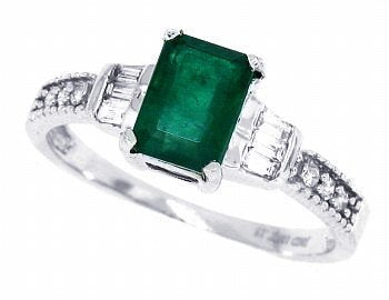 0.65Ct Emerald Cut Genuine Emerald and Diamond Ring - 02EM53