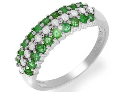 9ct White Gold Emerald & Diamond Ring - 02EM56