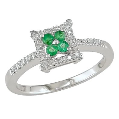 White Gold 1/6ct TGW Emerald and 1/10ct TDW Diamond Ring - 02EM57