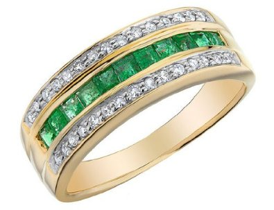 Emerald Ring with Diamonds 7/10 Carat - 02EM58